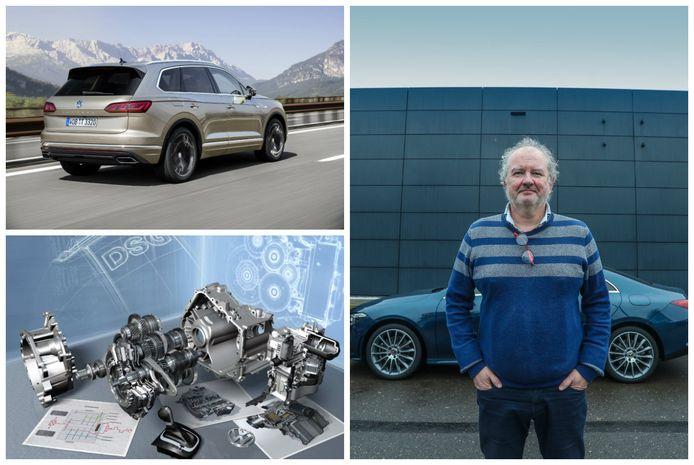 Links boven: Volkswagen Touareg. Links onder: DSG versnellingsbak. Rechts: Joost Bolle.
