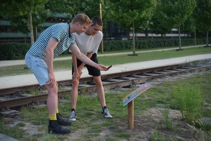 In het Spoorpark kijken de mannen van Zwoel naar de 'mysterieuze' modeshow van Lynn van Hal.