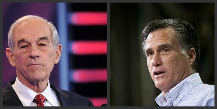 Ron Paul (links) en Mitt Romney zijn de koplopers in Iowa. Beeld UNKNOWN