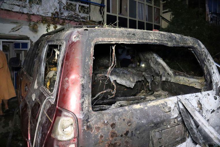 De door de Amerikanen met een drone-aanval vernietigde auto in Kabul op 29 augustus. Beeld AP