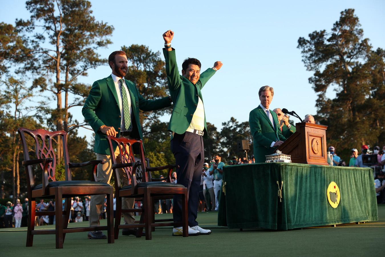 Hideki Matsuyama tijdens de feestelijke ceremonie in Augusta.