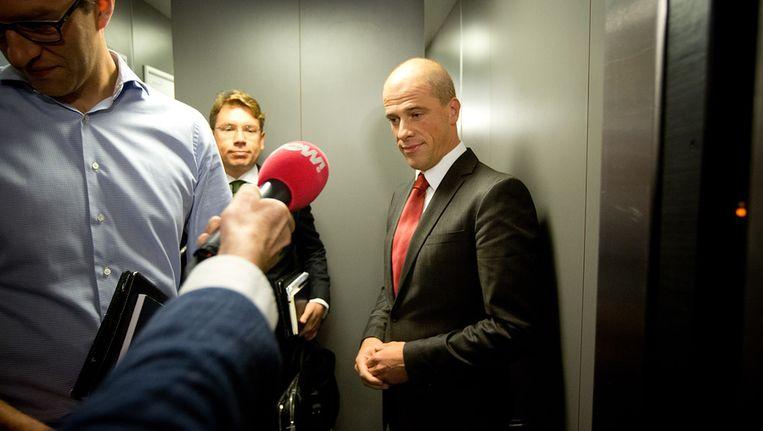 PvdA-leider Diederik Samsom voor aanvang van een extra beraad, voorafgaand aan een ledenraad in Zwolle. Beeld anp