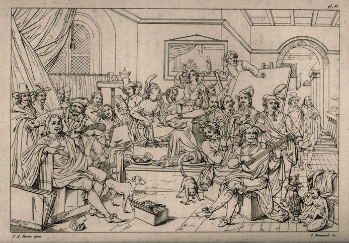 Zwart-witprent van 'Het atelier van Rembrandt'. Het schilderij werd vernietigd in de Eerste Wereldoorlog.
