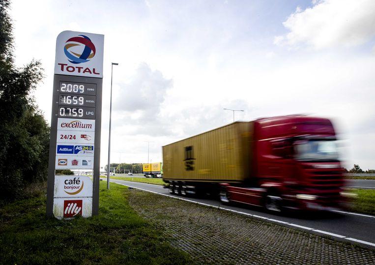 Een benzineprijs van twee euro per liter bij een tankstation langs de A12 bij Harmelen.  Beeld ANP