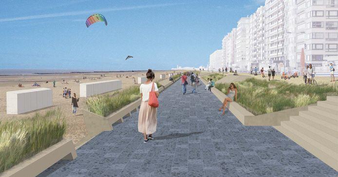 Zo zal de nieuwe dijk, met twee niveaus, er in de toekomst uitzien.
