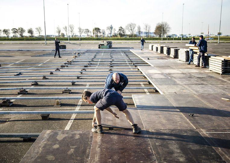 Aanleg van een XL-teststraat bij Schiphol. Beeld ANP