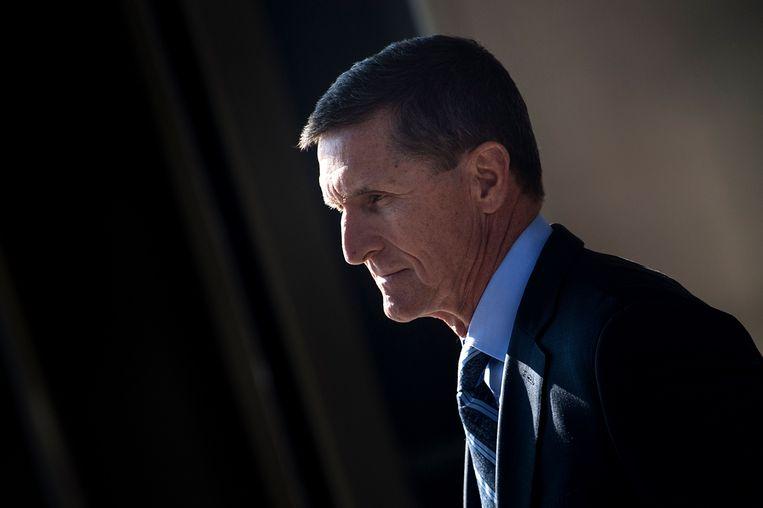 Voormalig nationaal veiligheidsadviseur Michael Flynn in de rechtszaal in december 2017. Beeld AFP