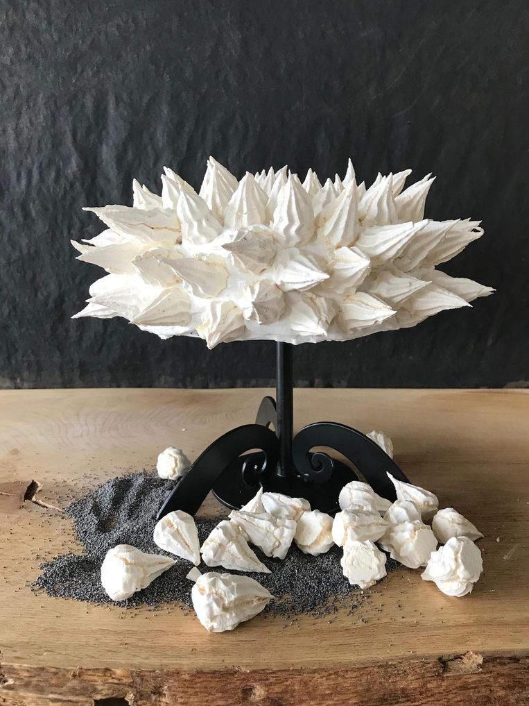 Een taart die Maroeska Metz maakte in Heel Holland Bakt: een maandzaadtaart met glazuur van Italiaanse meringue. Beeld Maroeska Metz