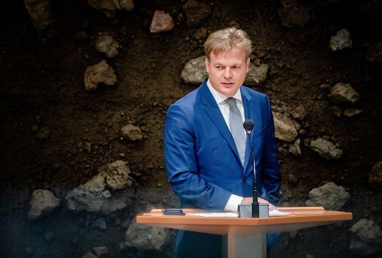 Pieter Omtzigt tijdens het debat in de Tweede Kamer over de situatie in Afghanistan Beeld ANP