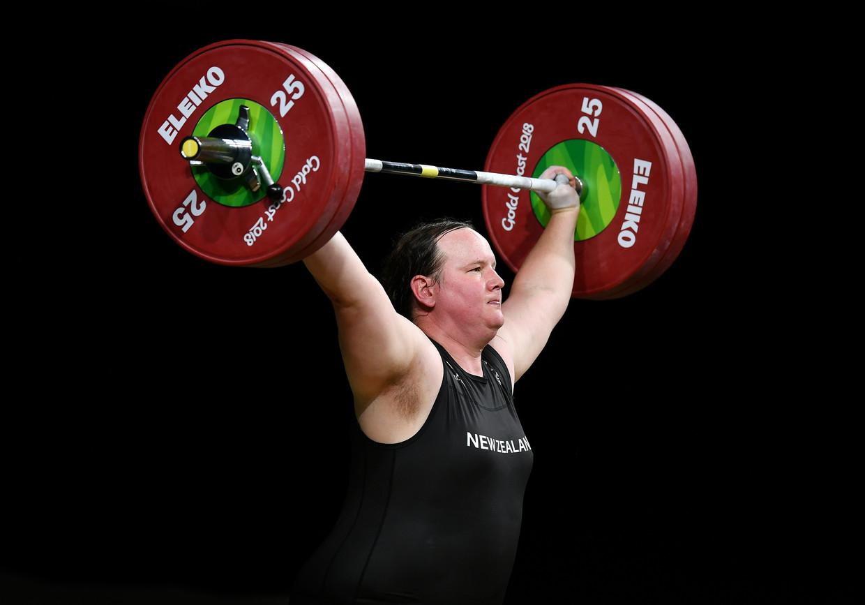 Laurel Hubbard tijdens de Gold Coast Commonwealth Games in 2018. Beeld Getty Images