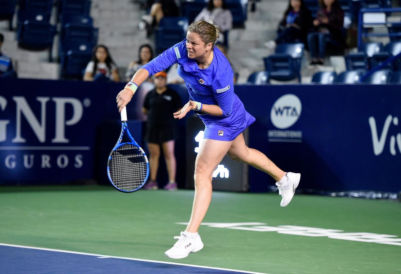Kim Clijsters liep ook in het Mexicaanse Monterrey tegen een nederlaag aan, ditmaal tegen gewezen nummer vier van de wereld Johanna Konta. Beeld Photo News