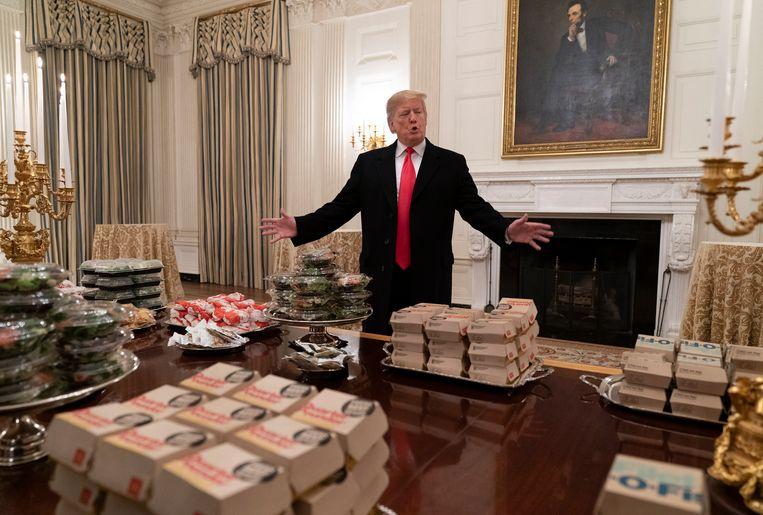 14 januari 2019: Hamburgers en ander fastfood ligt klaar voor een bezoek van de Clemson Tigers, die de nationale studentenkampioenschappen football wonnen. Beeld EPA