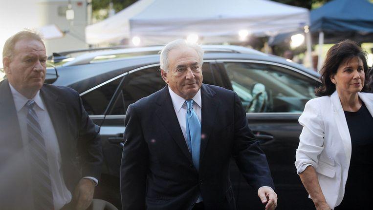Dominique Strauss-Kahn arriveert bij de rechtbank in New York. Beeld afp
