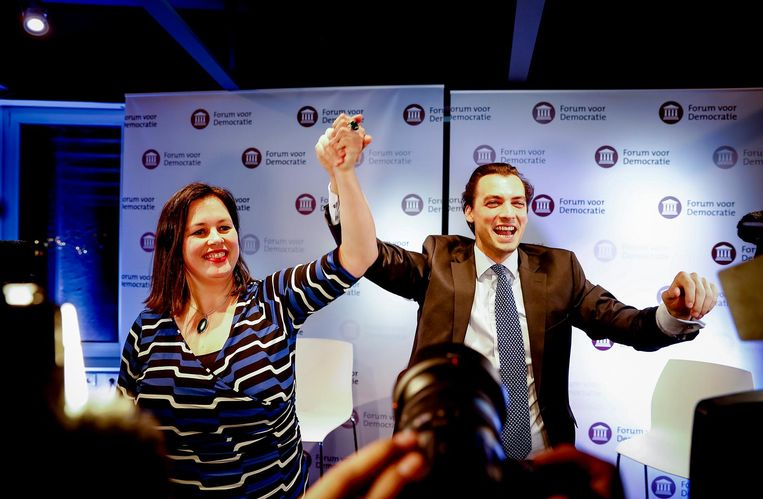 Thierry Baudet en Annabel Nanninga van Forum voor Democratie tijdens de uitslagenavond. Beeld anp