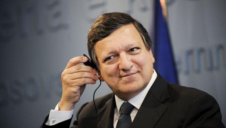 José Manuel Barroso tijdens een persconferentie, vorige week. Beeld afp