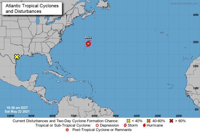 Storm Ana, te zien op de kaart van het National Hurricane Center (NHC).