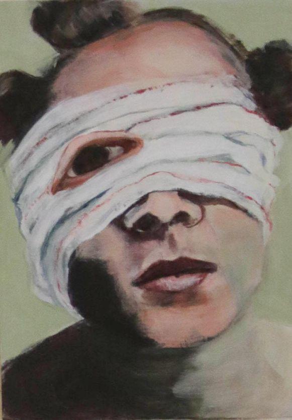Een van de postkaarten: 'Wounded' van Nathalie Nuyttens.