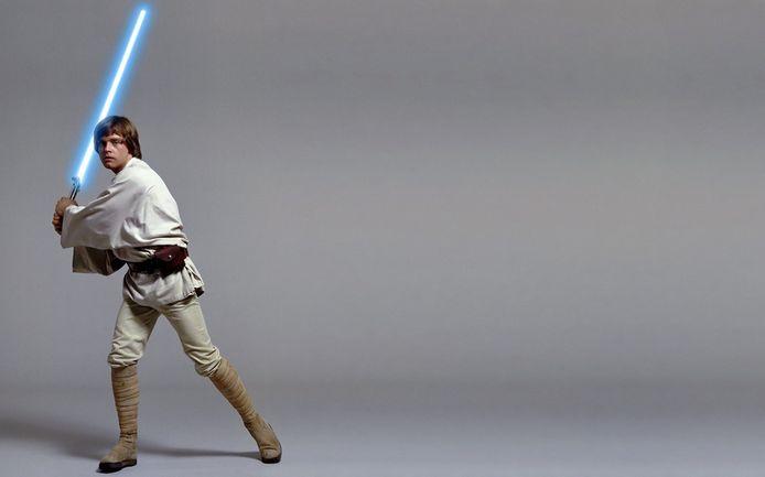 Luke Skywalker met zijn lichtsabel.