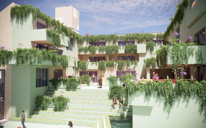 Het ontwerp voor het oude gemeentehuis van Schijndel is gebaseerd op De Hangende Tuinen van Babylon.
