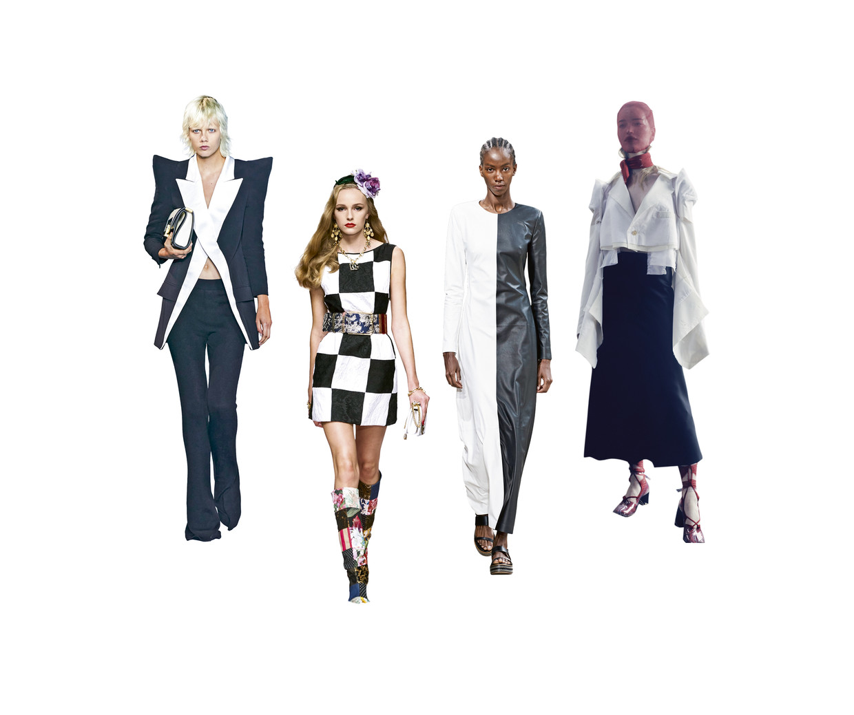 Van links naar rechts: Balmain, Dolce & Gabbana, Gabriela Hearst en Maison Margiela.  Beeld rv