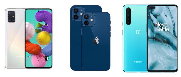 Van l naar r: Samsung Galaxy A51, Apple iPhone 12 en OnePlus Nord