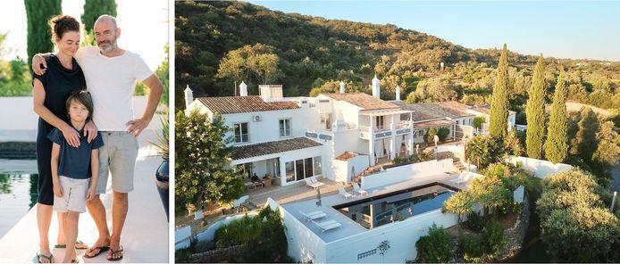 Véronique, Frank en hun zoontje Jules (8). Hun boetiek-B&B Farmhouse of the Palms telt zeven luxesuites en werd in 2019 door Publituris uitgeroepen tot 'beste landelijke hotel in Portugal'.