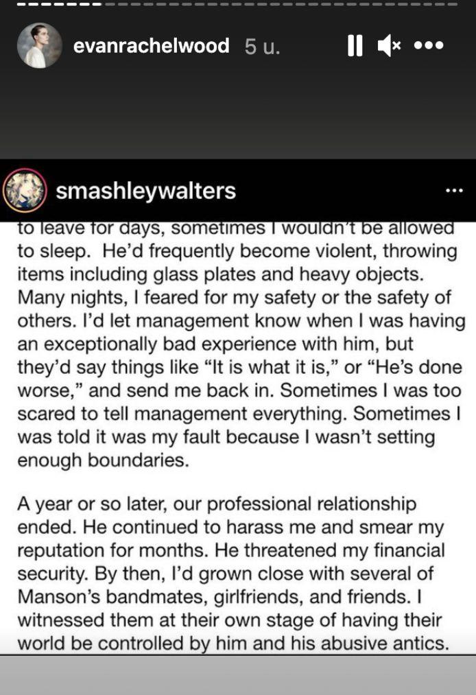 Ashley Walters getuigt over haar slechte ervaringen met Marilyn Manson.