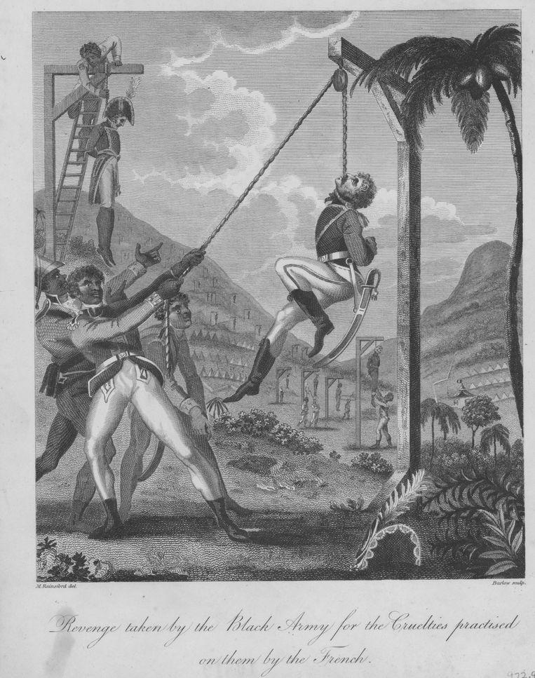 Originele schets van de Britse soldaat Marus Rainsford, die de wraak op de koloniale macht laat zien ten tijde van de Haïtiaanse Revolutie. Beeld Getty Images