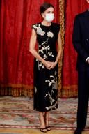 Koningin Letizia bij een officieel diner met de Zuid-Koreaanse premier in Madrid.