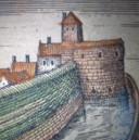 Op een stadskaart van Harderwijk uit 1598 van Georg Braun en Frans Hogenberg is een ronde muur te zien, met op de achtergrond een stuk verdedigingsrondeel. Een deel van de boogvormige stadsmuur is nu door archeologen opgegraven.