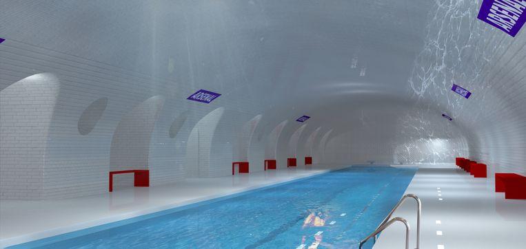 De plannen om in het lege Parijse metrostation l'Arsenal een zwembad te bouwen, gaan nog even in de ijskast. Beeld dm