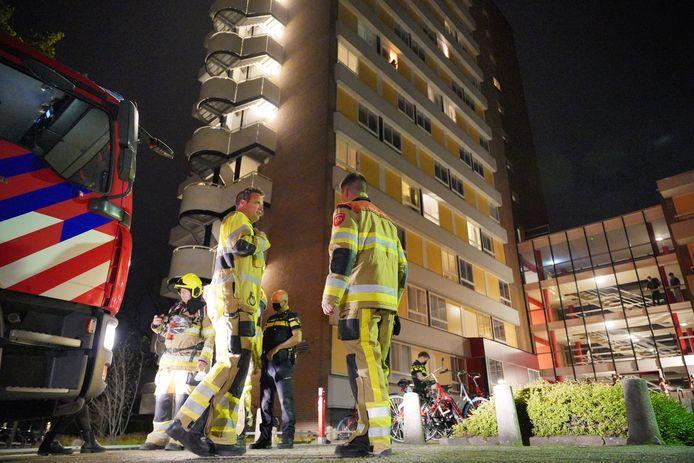 De brandweer bij studentencomplex Galgenveld in Nijmegen hoefde alleen na te blussen en controleren.