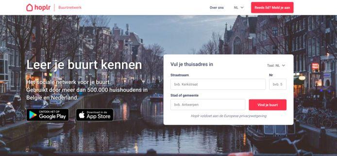 Een screenshot van het sociale netwerk Hoplr.