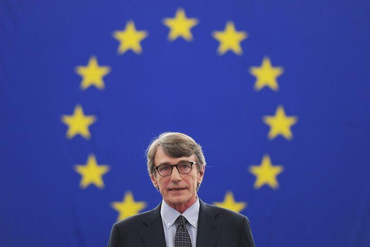 De Italiaanse sociaal-democraat David-Maria Sassoli tijdens zijn speech in Straatsburg na zijn verkiezing tot voorzitter van het Europees Parlement, woensdag 3 juli. Beeld Foto AFP
