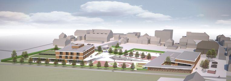 Links de nieuwe school, rechts in beeld de refter, de turnzaal en de fietsenstalling.