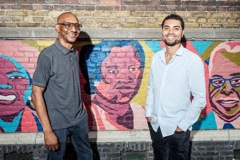 Vincent Soekra (links) en Jan Gerards (rechts) maken met het Suriname Museum, dat opent in 2023, een lang gekoesterde droom waar. Beeld Jakob van Vliet