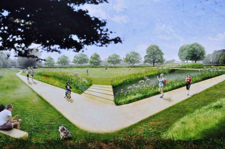 Een beeld van het park aan het Wildersportcomplex zoals het er binnen twee jaar zal uitzien.