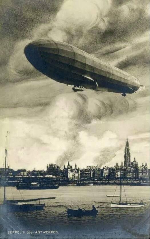 Een tekening van het zeppelinbombardement.