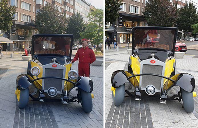 La voiture de Gaston Lagaffe le jour de son inauguration à Charleroi et cette même voiture une semaine plus tard