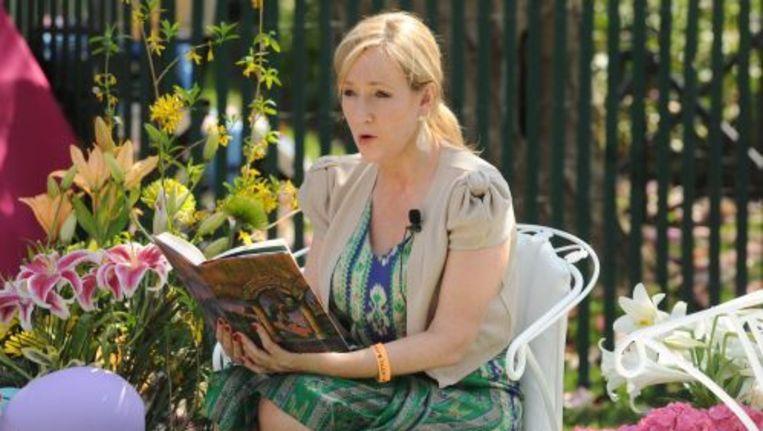 Schrijfster J.K. Rowling leest een stukje uit een van haar Harry Potter-boeken voor. ANP Beeld