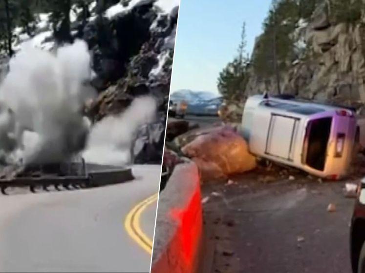 Auto knalt op vallende rotsblokken. Dynamiet maakt weg weer vrij