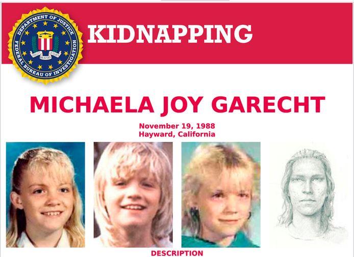 De ontvoering van Michaela Garecht dateert van 19 november 1988. De FBI maakte jaren later een verouderingstekening (rechts).