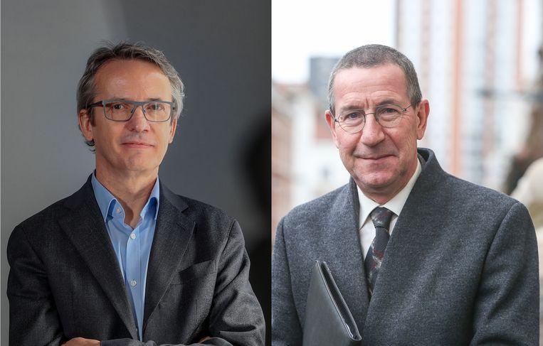 Zittend rector Luc Sels en zijn uitdager Jan Tytgat. Beeld Photo News