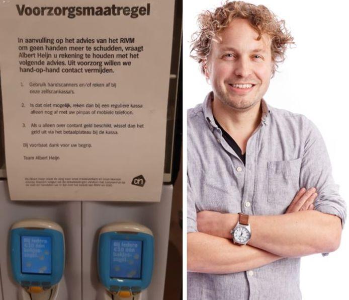 Ga nou gewoon scannen en met je pas betalen, zeggen de supermarkten, dan houden we misschien dat virus in bedwang.