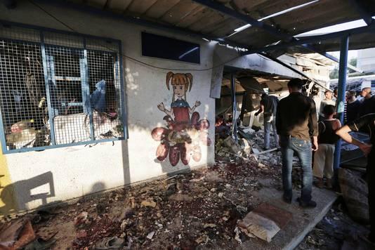 De school in Jabaliya,die gisteren onder vuur genomen werd.