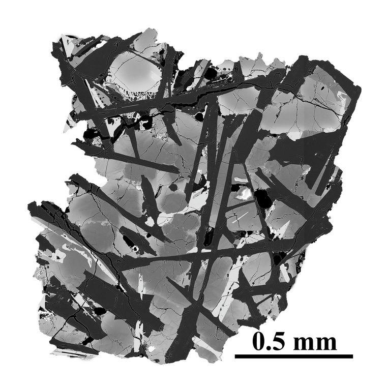 Micrografia elettronica di una fetta di basalto prelevata dalla luna.  CAGS . immagine