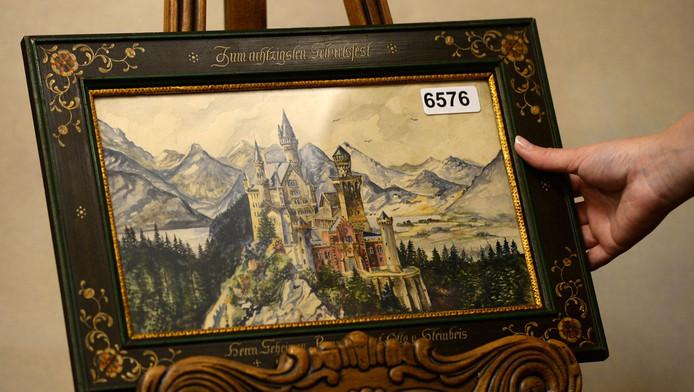 Een aquarel van kasteel Neuschwanstein.