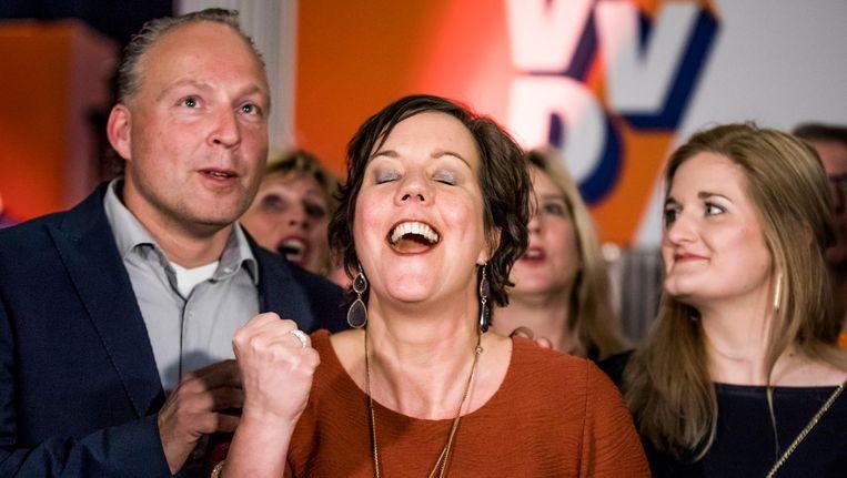Tamara van Ark reageert op de exitpolls van 16 maart. Beeld Freek van den Bergh / de Volkskant