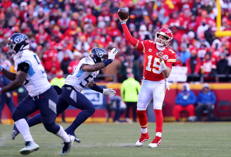 Quarterback Patrick Mahomes stuurde de Kansas City Chiefs na vijftig jaar weer naar de NF-finale. Beeld AFP