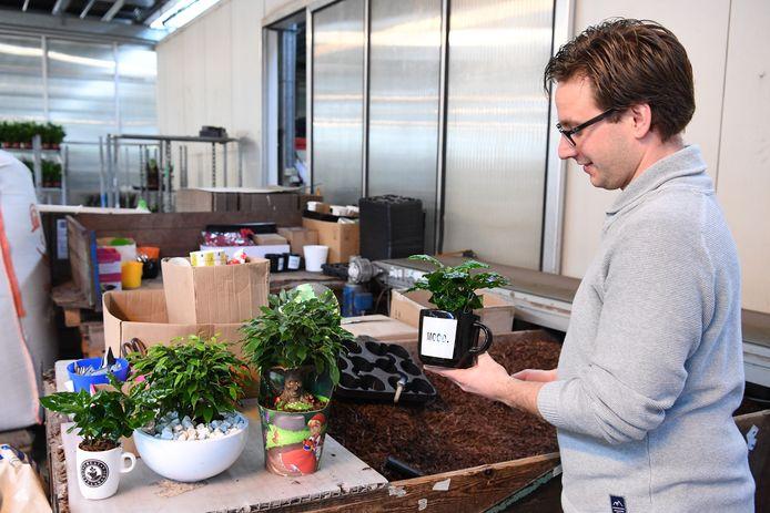 Niels de Groot staat met een selectie van hun belevingsproducten, zoals een koffieplant.